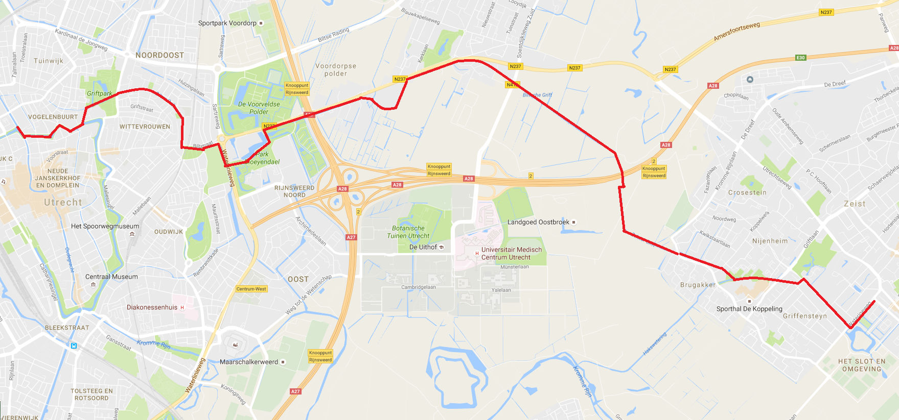 Vaarroute Utrecht-Zeist